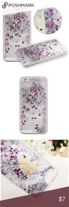 iPhone 6/6S Liquid Glitter iPhone Case iPhone 6/6S Liquid Glitter iPhone Case. Silver glitter with pink & silver stars. Brand new in plastic bag. Accessories Phone Cases