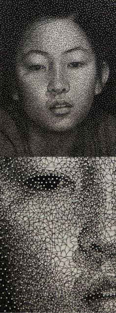 Kumi Yamashita. Amazing artist, portrait made from a single thread wrapped around thousands of nails.
