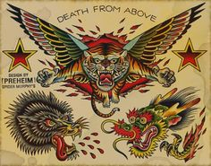 Death From Above Tattoo Flash | KYSA #ink #design #tattoo