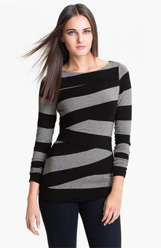 Vince Camuto Wide Stripe Zigzag Top available at #Nordstrom