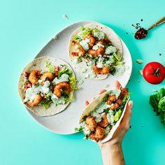 Crispy Prawn Tacos With Coriander Mayo