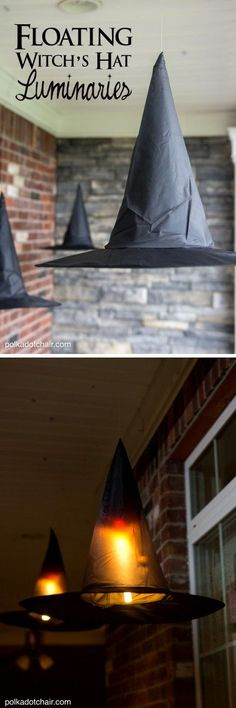 Clever decorating idea for a porch for Halloween, floating Witch's hat luminaries, they even light up at night! Diy Outdoor Halloween Decorations, Halloween Lighting, Fall Porch Decorations, Light Up Halloween Costumes, Samhain Decorations, Halloween Classroom Decorations, Halloween Lanterns, Porch Ideas, Diy Halloween Home Decor