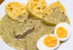 Photo about Boiled beef with dill sauce, bread dumplings and cooked hard-boiled eggs. Image of cooked, dill, hardboiled - 39125431 Boiled Beef, Cooking Hard Boiled Eggs, Bread Dumplings, Dill Sauce, Gravy, Mashed Potatoes, Peanut Butter, Meat, Breakfast