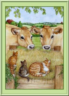 C - Cook Debbie - United Kingdom Art And Illustration, Farm Animals, Cute Animals, Image Chat, Arte Country, Cow Painting, Farm Art, Cow Art, Watercolor Animals