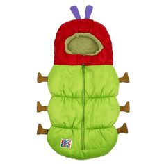 Eric Carle 2 in 1 Stroller and Infant Carrier Bag, Bunting Bag, Polyester, Hungry Caterpillar, Green, Red, Brown and Purple - $41.82