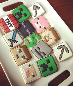 Minecraft theme cookies for a very special birthday boy! #cookies #cookieart #sweetsbymee #customcookies #minecraft #minecraftcookies…