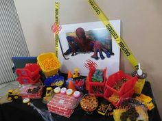 Spiderman construction Candy table