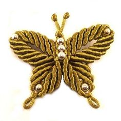 Broche Papillon Kaki