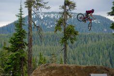 Brandon Semenuk whipping huge on the last jump.