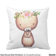 Baby Nursery Boho Woodland Bear Floral Girl Pillow