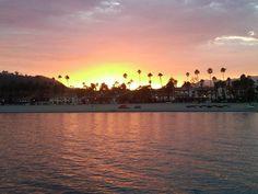 Sunset off Santa Barbara pier.
