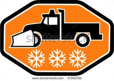 vector Imagery shows a Snow plow truck with snowflake in background inside hexagon #snowplow #retro #illustration