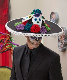 Sugar Skull Men's Hat - free crochet patterns to jazz up a purchased sombrero, by Jessie Rayot for Red Heart.