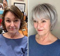 White Hair Highlights, Grey Hair Transformation, Grey Hair Inspiration, Gray Hair Growing Out, Transition To Gray Hair, Brown Blonde Hair, Great Hair, Hair Looks, Curly Hair Styles