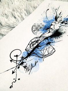 watercolor tattoo ink woman polygonal design