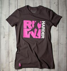 Gymdoll - Run Harder Tee - Charcoal/Pink - I would love so much more if it weren't cotton.
