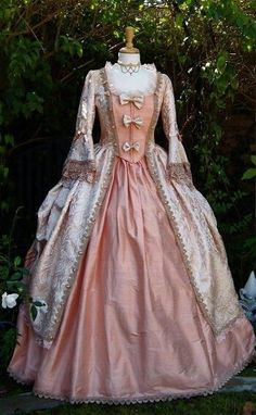 Victorian gown, peach, white, bell sleeves, bows
