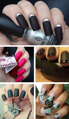 Loving Matte Nails - Kinda like this, especially the black on black french.