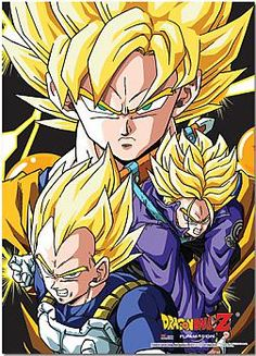 Dragon Ball Z Fabric Poster - Super Saiyan Goku, Vegeta, and Trunks