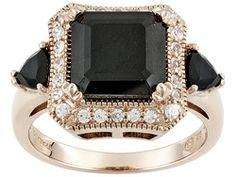 Stratify (Tm) 4.80ctw Black Spinel And 1.60ctw White Zircon 18k Rose Gold Over Sterling Silver Ring