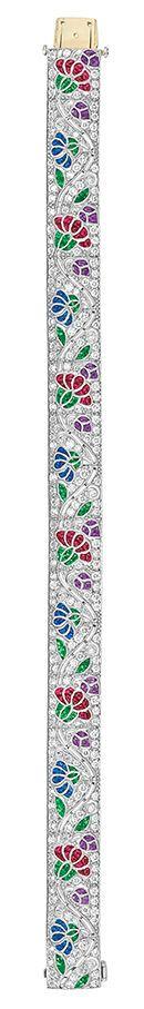 Best Diamond Bracelets  : Diamond and Gem-Set Bracelet Platinum the straightline strap centering a pierce