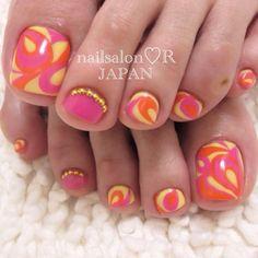 rie_nail #nail #nails #nailart Toenail Art Designs, Pedicure Designs, Pedicure Nail Art, Nail Polish Designs, Toe Nail Art, Nail Nail, Pretty Toe Nails, Cute Toe Nails, Fancy Nails