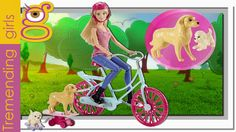 Barbie va de paseo en su nueva bicicleta con sus perritos - juguetes Barbie
