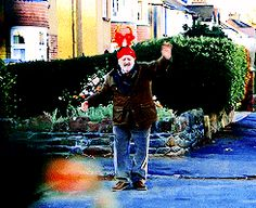 GIF. If you're having a rough day, here's Wilf dancing wearing the antlers.