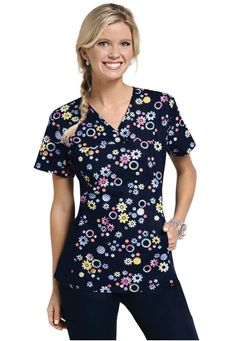 Cherokee Flexibles Ring Around the Posy print scrub top. - Scrubs and Beyond #scrubs #uniforms #nurse