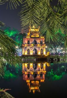 Turtle Tower, Hoan Kiem Lake, Hanoi, Vietnam