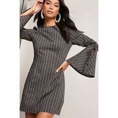 Forever21 12 x 12 Pinstripe Dress ($38) ❤ liked on Polyvore featuring dresses, charcoal, round neck dress, long bell sleeve dress, flared sleeve dress, forever 21 and charcoal dress