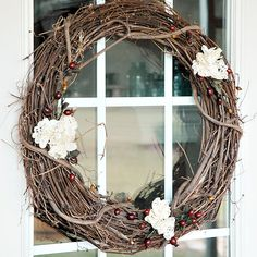 {diy} Rustic + Vintage Grapevine Wreath With Charming Paper Doily Flowers