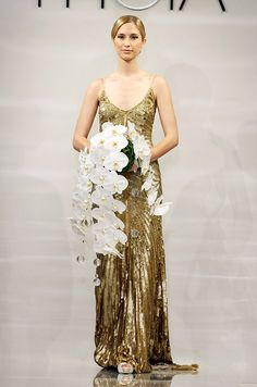 Gold hand embroidered mitered sequin and crystal gown from Theia, Fall 2014
