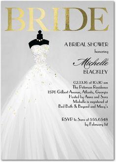 Exquisite Bride - Signature Foil Bridal Shower Invitations in Fog or Taffy | Coloring Cricket