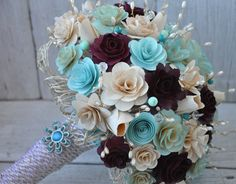 Tiffany Blue Wedding Bouquets (Picture the purple one's as rose red colored!)