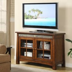Mission style tv console