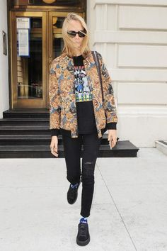 Cara Delevingne wearing Saint Laurent Tapestry Teddy Jacket and Fenty x Puma Creepers Black Suede