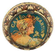 Early Advertising Tin for the CAFE MARTIN (New York) with great Art Nouveau design