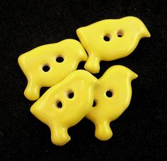FOUR Ceramic Yellow Bird Button Ceramic Button  by buttonsbyrobin2