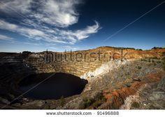 Copper mine open pit Atalaya Rio Tinto (Spain) - stock photo