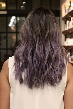 """What To Ask For: Full highlights with a smoky violet color and a natural root.  Choi started this look on virgin hair and calls it a """"smoky lilac."""" To score a similar finish, ask for a full head of highlights, with most bleaching done at the ends, with a gray-based violet hue on top. Tip: Use purple shampoo to keep it vibrant, Choi says."""