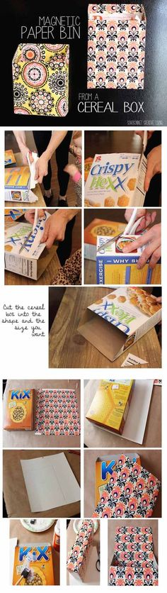 DIY Magnetic Paper Bin - I knew there would be something I could use all the old empty cereal boxes for!