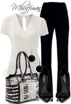 """""""Black and White 4"""" by mhuffman1282 ❤ liked on Polyvore.   I just love a nice black & white outfit! <3"""