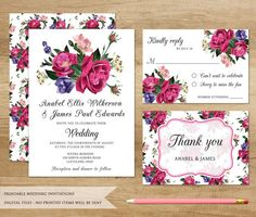 Roses Wedding Invitation. Printable Wedding by SweetPeonyDesign