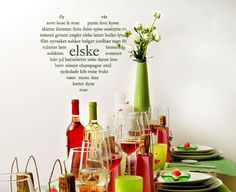 Hjerteord - Mange små og store gledelige ord. Champagne, Candles, Sealing Wax, Candy, Candle Sticks, Candle