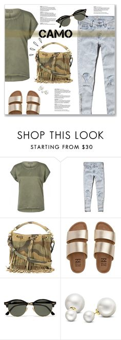 """Go Camo"" by kellylynne68 ❤ liked on Polyvore featuring Vero Moda, Abercrombie & Fitch, Yves Saint Laurent, Billabong, Ray-Ban, Old Navy, Allurez, camo, camostyle and GoCamo"