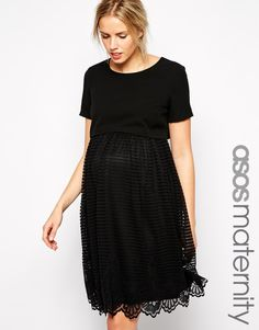 ASOS Maternity Exclusive Shell Top Dress with Stripe Lace Skirt-out