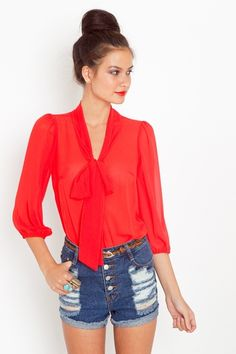Outfit // Red Bowed Chiffon Denim Shorts and High Bun #summerstyle