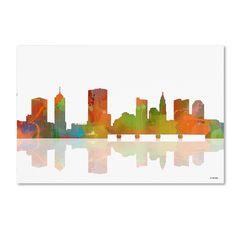 Columbus Ohio Skyline II by Marlene Watson Graphic Art on Wrapped Canvas