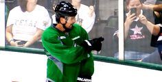 Sharpy letting Segs know that a small child has Seguin's jersey on :)